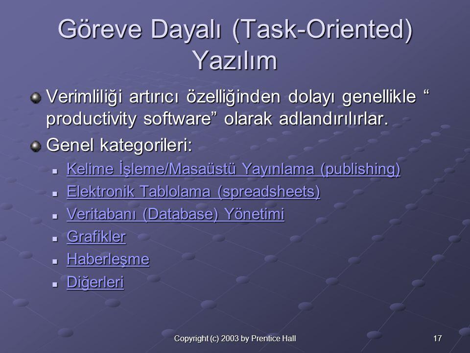 17Copyright (c) 2003 by Prentice Hall Göreve Dayalı (Task-Oriented) Yazılım Verimliliği artırıcı özelliğinden dolayı genellikle productivity software olarak adlandırılırlar.