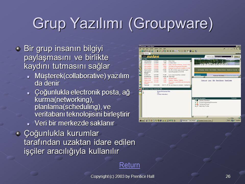 26Copyright (c) 2003 by Prentice Hall Grup Yazılımı (Groupware) Bir grup insanın bilgiyi paylaşmasını ve birlikte kaydını tutmasını sağlar  Müşterek(collaborative) yazılım da denir  Çoğunlukla electronik posta, ağ kurma(networking), planlama(scheduling), ve veritabanı teknolojisini birleştirir  Veri bir merkezde saklanır Çoğunlukla kurumlar tarafından uzaktan idare edilen işçiler aracılığıyla kullanılır Return