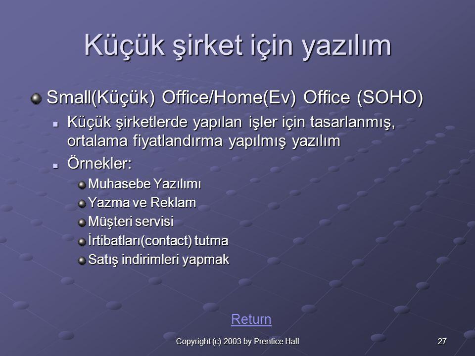 27Copyright (c) 2003 by Prentice Hall Küçük şirket için yazılım Small(Küçük) Office/Home(Ev) Office (SOHO)  Küçük şirketlerde yapılan işler için tasarlanmış, ortalama fiyatlandırma yapılmış yazılım  Örnekler: Muhasebe Yazılımı Yazma ve Reklam Müşteri servisi İrtibatları(contact) tutma Satış indirimleri yapmak Return