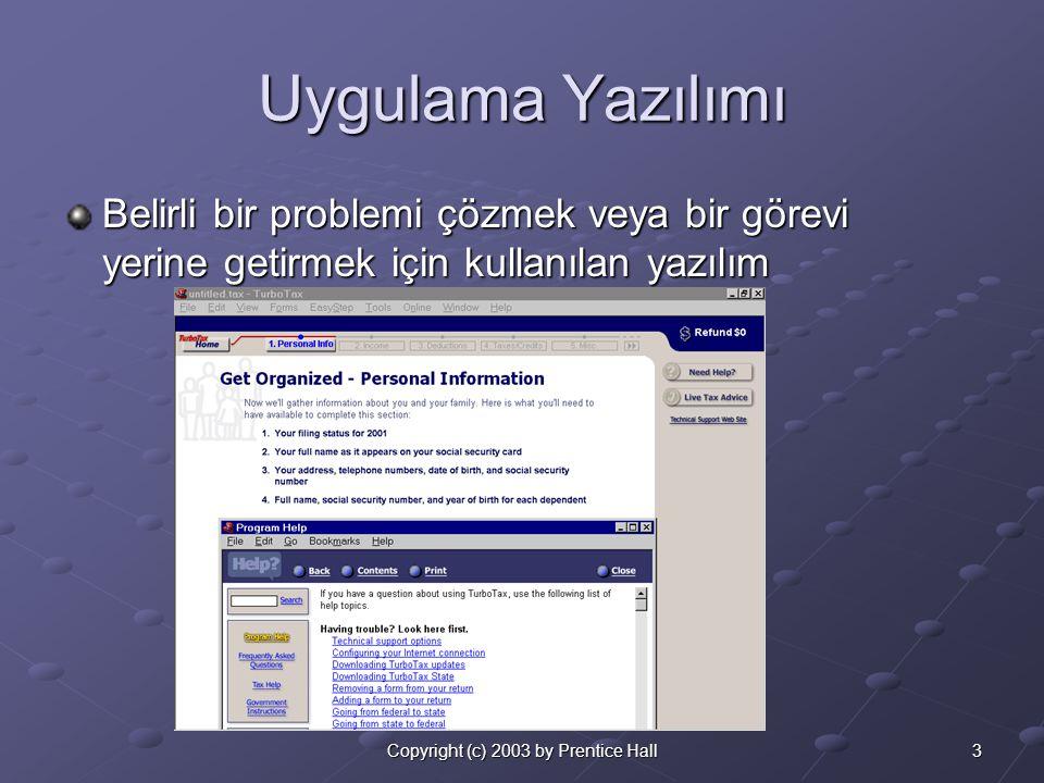 3Copyright (c) 2003 by Prentice Hall Uygulama Yazılımı Belirli bir problemi çözmek veya bir görevi yerine getirmek için kullanılan yazılım