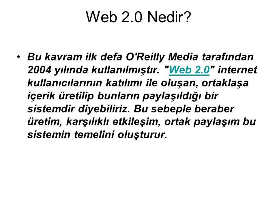 Web 2.0 Nedir. •Bu kavram ilk defa O Reilly Media tarafından 2004 yılında kullanılmıştır.