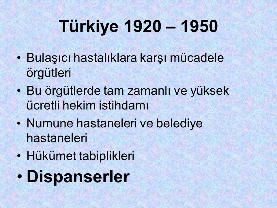 Türkiye 1920 – 1950 •Bulaşıcı hastalıklara karşı mücadele örgütleri •Bu örgütlerde tam zamanlı ve yüksek ücretli hekim istihdamı •Numune hastaneleri ve belediye hastaneleri •Hükümet tabiplikleri •Dispanserler