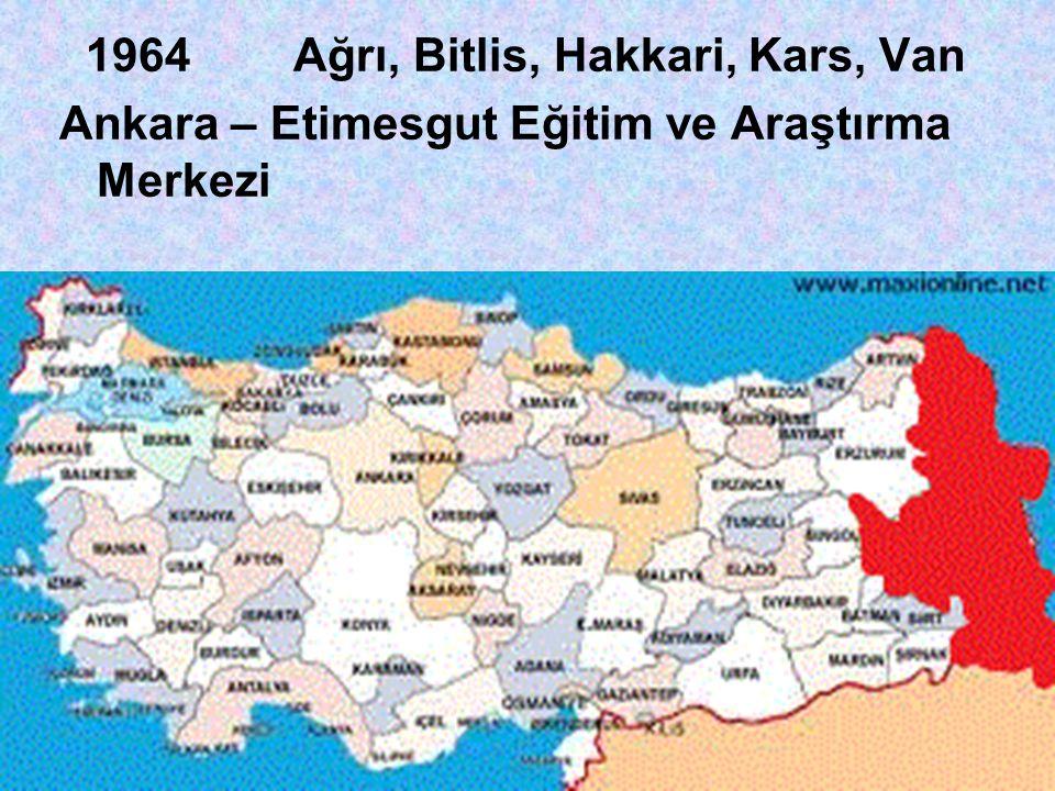 1964 Ağrı, Bitlis, Hakkari, Kars, Van Ankara – Etimesgut Eğitim ve Araştırma Merkezi