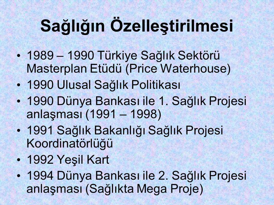 Sağlığın Özelleştirilmesi • 1989 – 1990 Türkiye Sağlık Sektörü Masterplan Etüdü (Price Waterhouse) • 1990 Ulusal Sağlık Politikası • 1990 Dünya Bankası ile 1.