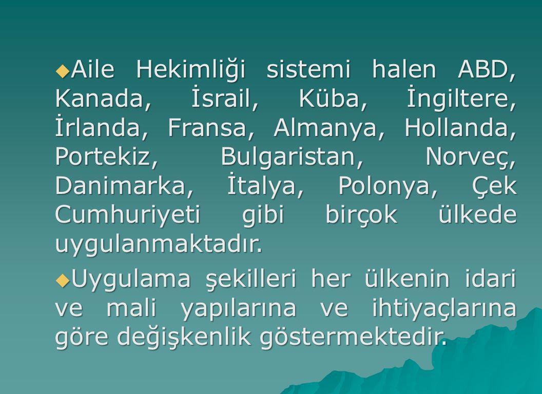  Aile Hekimliği sistemi halen ABD, Kanada, İsrail, Küba, İngiltere, İrlanda, Fransa, Almanya, Hollanda, Portekiz, Bulgaristan, Norveç, Danimarka, İta