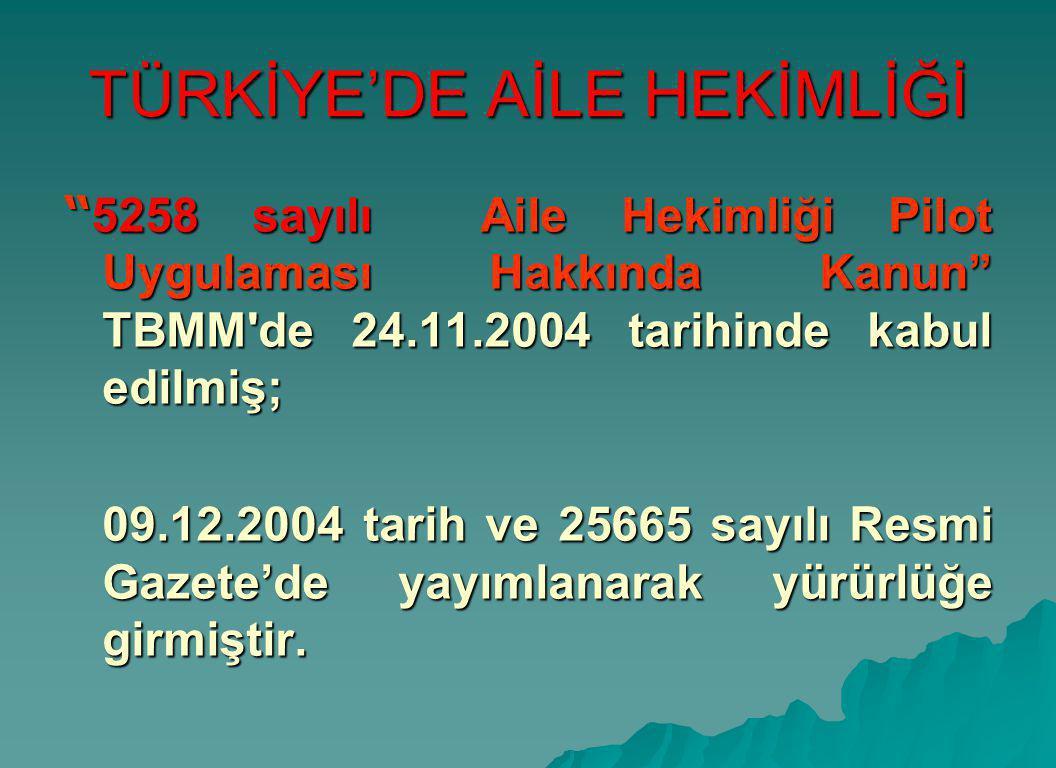 """TÜRKİYE'DE AİLE HEKİMLİĞİ """" 5258 sayılı Aile Hekimliği Pilot Uygulaması Hakkında Kanun"""" TBMM'de 24.11.2004 tarihinde kabul edilmiş; 09.12.2004 tarih v"""