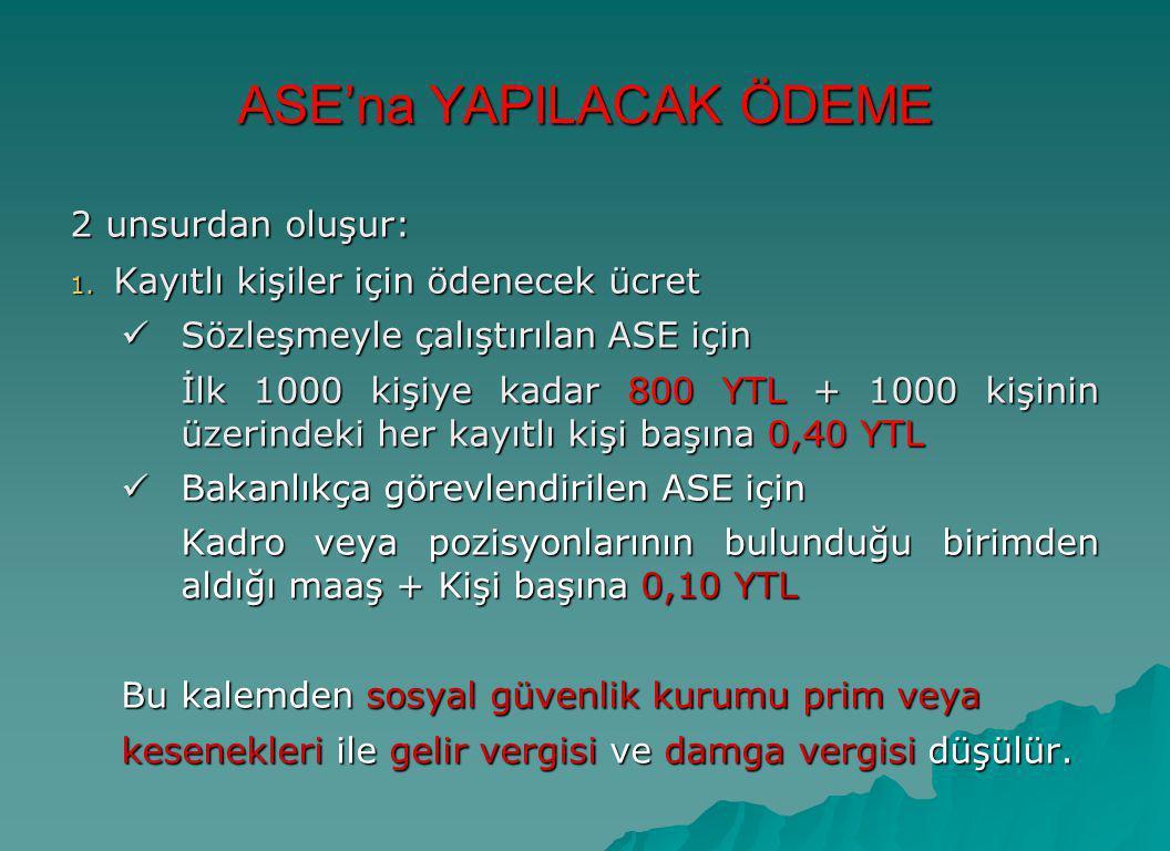 ASE'na YAPILACAK ÖDEME 2 unsurdan oluşur: 1. Kayıtlı kişiler için ödenecek ücret  Sözleşmeyle çalıştırılan ASE için İlk 1000 kişiye kadar 800 YTL + 1