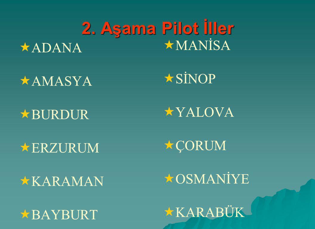 2. Aşama Pilot İller   ADANA   AMASYA   BURDUR   ERZURUM   KARAMAN   BAYBURT   MANİSA   SİNOP   YALOVA   ÇORUM   OSMANİYE   KA