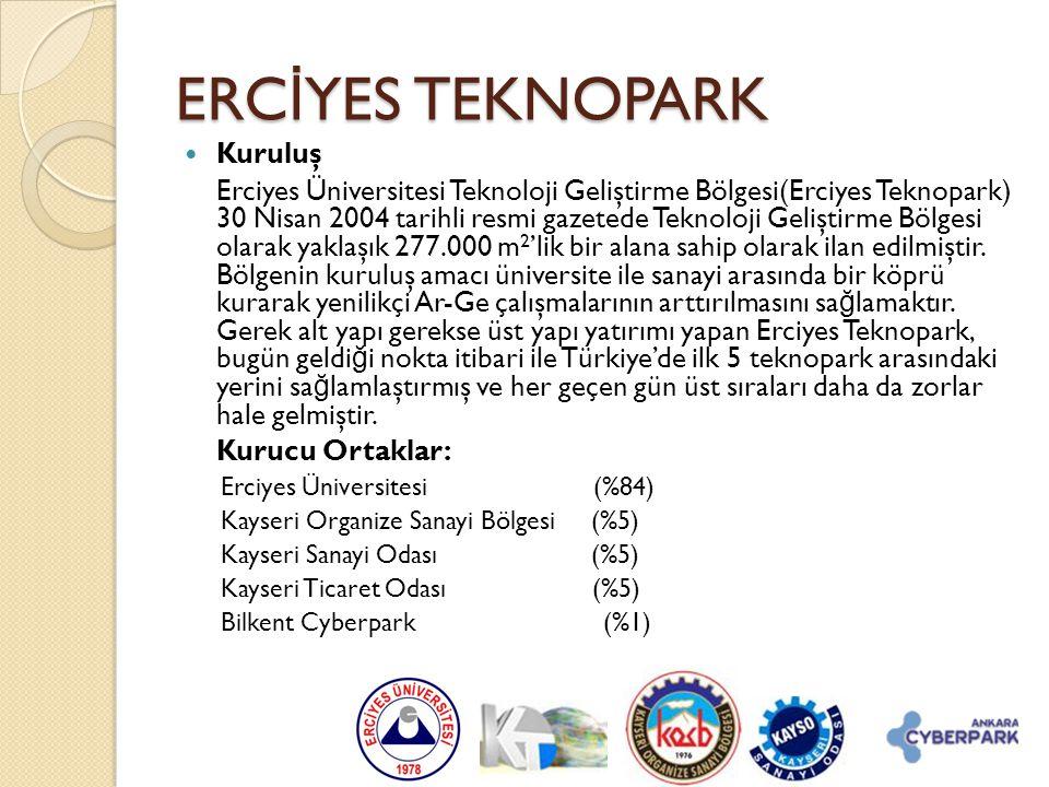  Kuruluş Erciyes Üniversitesi Teknoloji Geliştirme Bölgesi(Erciyes Teknopark) 30 Nisan 2004 tarihli resmi gazetede Teknoloji Geliştirme Bölgesi olara