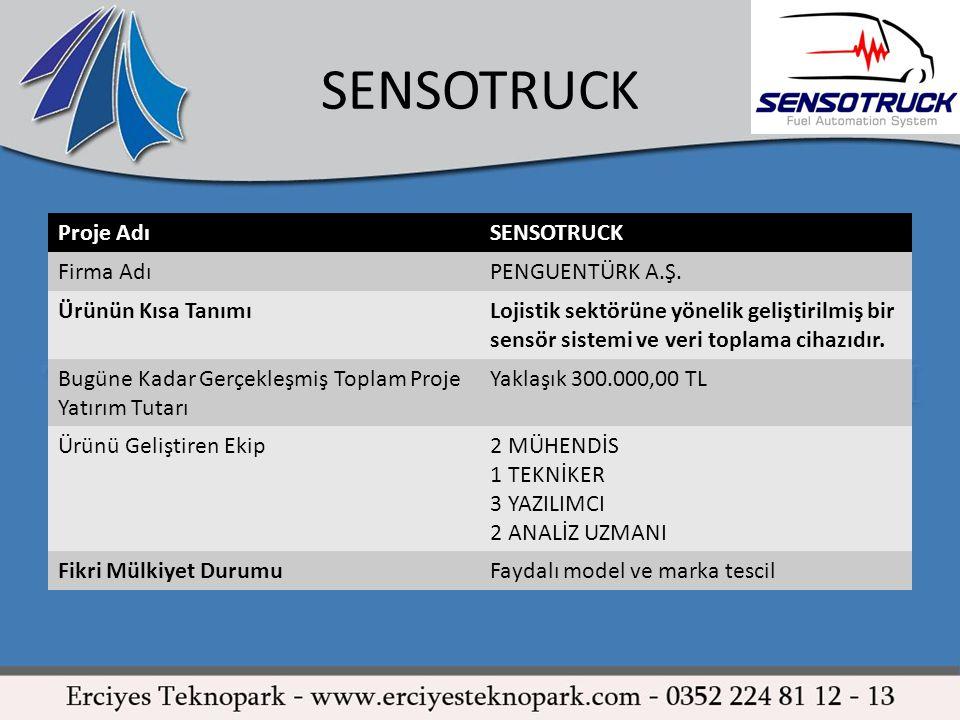 SENSOTRUCK Proje AdıSENSOTRUCK Firma AdıPENGUENTÜRK A.Ş. Ürünün Kısa TanımıLojistik sektörüne yönelik geliştirilmiş bir sensör sistemi ve veri toplama