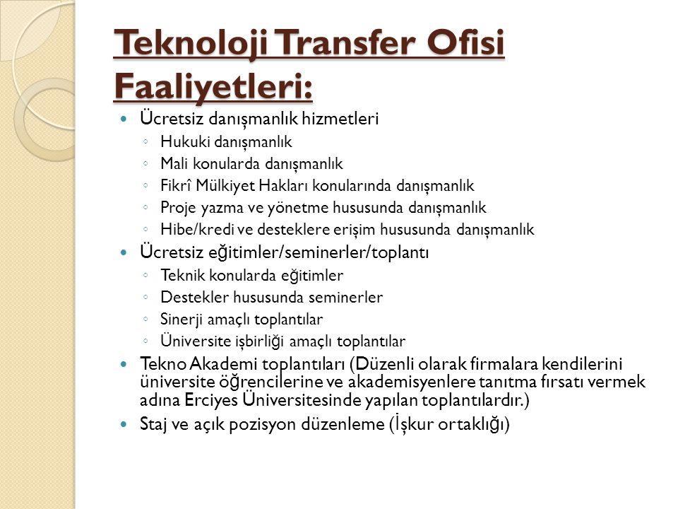 Teknoloji Transfer Ofisi Faaliyetleri:  Ücretsiz danışmanlık hizmetleri ◦ Hukuki danışmanlık ◦ Mali konularda danışmanlık ◦ Fikrî Mülkiyet Hakları ko