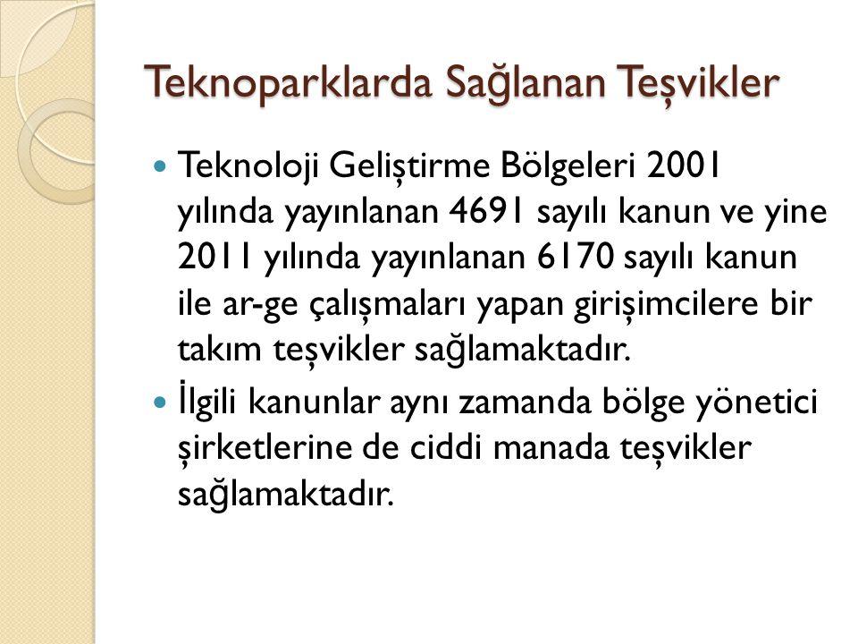 Teknoparklarda Sa ğ lanan Teşvikler  Teknoloji Geliştirme Bölgeleri 2001 yılında yayınlanan 4691 sayılı kanun ve yine 2011 yılında yayınlanan 6170 sa