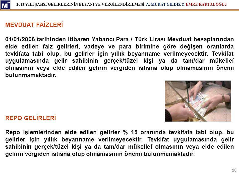2013 YILI ŞAHSİ GELİRLERİNİN BEYANI VE VERGİLENDİRİLMESİ- A. MURAT YILDIZ & EMRE KARTALOĞLU 20 MEVDUAT FAİZLERİ 01/01/2006 tarihinden itibaren Yabancı