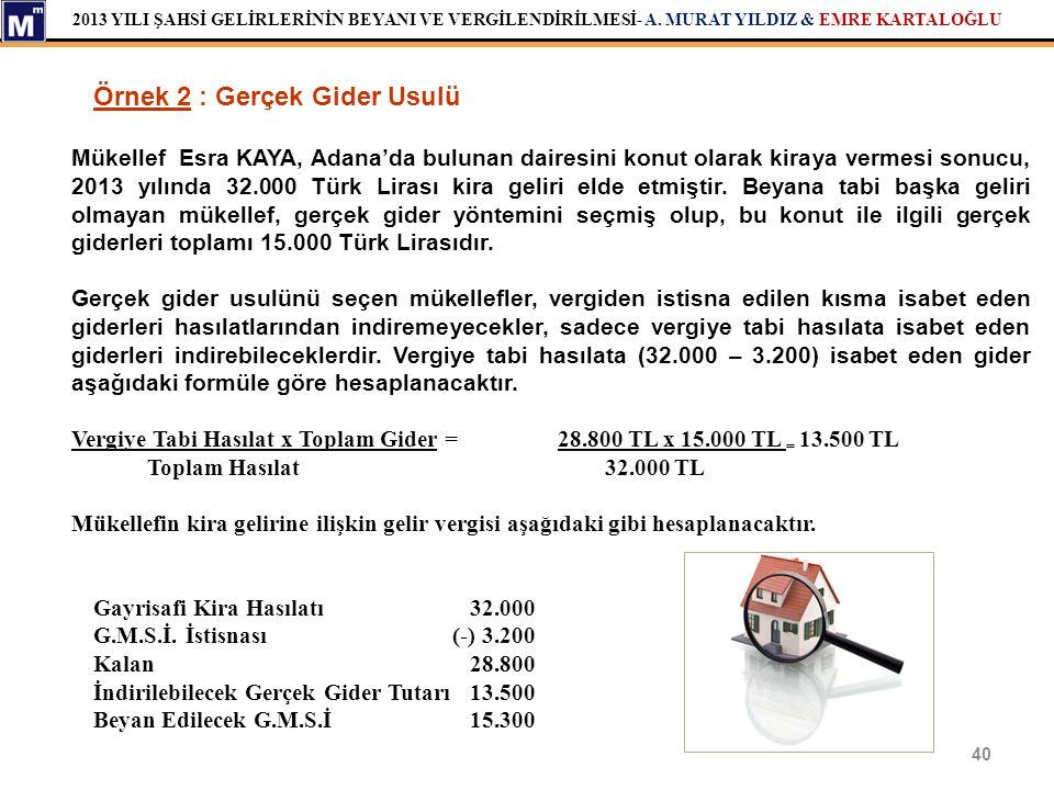 2013 YILI ŞAHSİ GELİRLERİNİN BEYANI VE VERGİLENDİRİLMESİ- A. MURAT YILDIZ & EMRE KARTALOĞLU 40 Örnek 2 : Gerçek Gider Usulü Mükellef Esra KAYA, Adana'