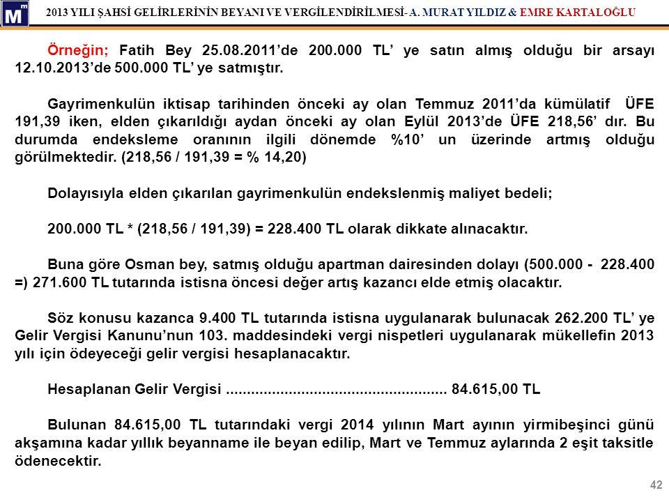 2013 YILI ŞAHSİ GELİRLERİNİN BEYANI VE VERGİLENDİRİLMESİ- A. MURAT YILDIZ & EMRE KARTALOĞLU 42 Örneğin; Fatih Bey 25.08.2011'de 200.000 TL' ye satın a