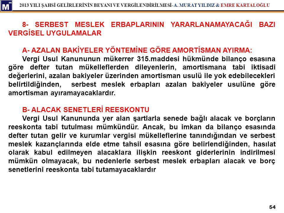 2013 YILI ŞAHSİ GELİRLERİNİN BEYANI VE VERGİLENDİRİLMESİ- A. MURAT YILDIZ & EMRE KARTALOĞLU 54 8- SERBEST MESLEK ERBAPLARININ YARARLANAMAYACAĞI BAZI V