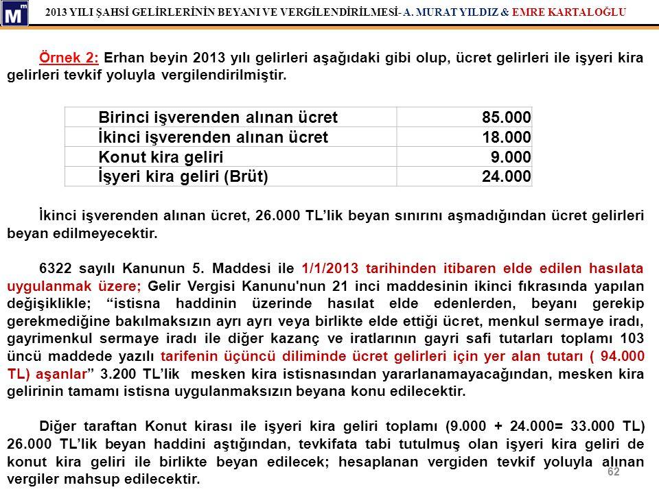 2013 YILI ŞAHSİ GELİRLERİNİN BEYANI VE VERGİLENDİRİLMESİ- A. MURAT YILDIZ & EMRE KARTALOĞLU 62 Birinci işverenden alınan ücret85.000 İkinci işverenden