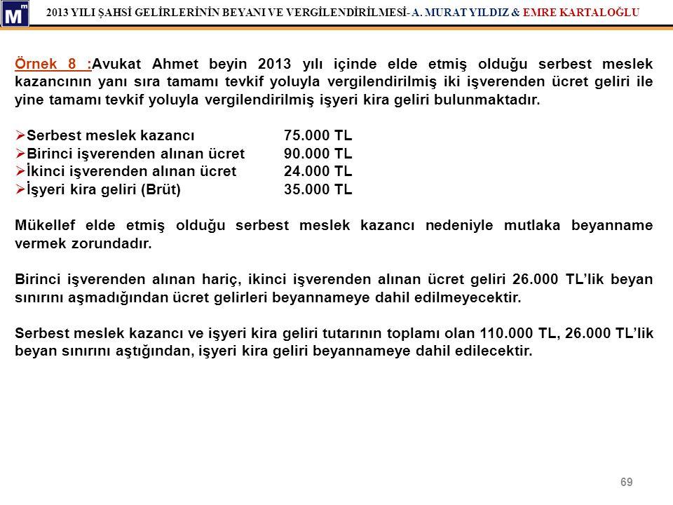 2013 YILI ŞAHSİ GELİRLERİNİN BEYANI VE VERGİLENDİRİLMESİ- A. MURAT YILDIZ & EMRE KARTALOĞLU 69 Örnek 8 :Avukat Ahmet beyin 2013 yılı içinde elde etmiş