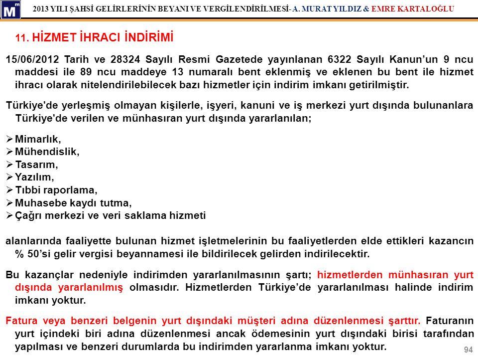 2013 YILI ŞAHSİ GELİRLERİNİN BEYANI VE VERGİLENDİRİLMESİ- A. MURAT YILDIZ & EMRE KARTALOĞLU 11. HİZMET İHRACI İNDİRİMİ 15/06/2012 Tarih ve 28324 Sayıl