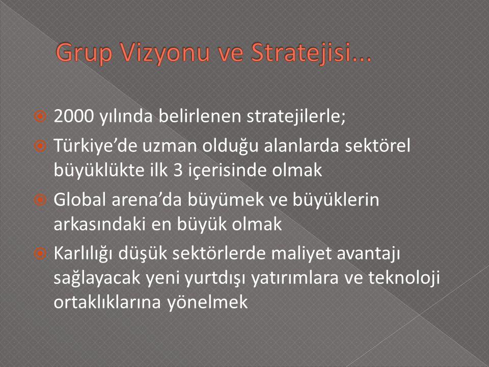  2000 yılında belirlenen stratejilerle;  Türkiye'de uzman olduğu alanlarda sektörel büyüklükte ilk 3 içerisinde olmak  Global arena'da büyümek ve büyüklerin arkasındaki en büyük olmak  Karlılığı düşük sektörlerde maliyet avantajı sağlayacak yeni yurtdışı yatırımlara ve teknoloji ortaklıklarına yönelmek