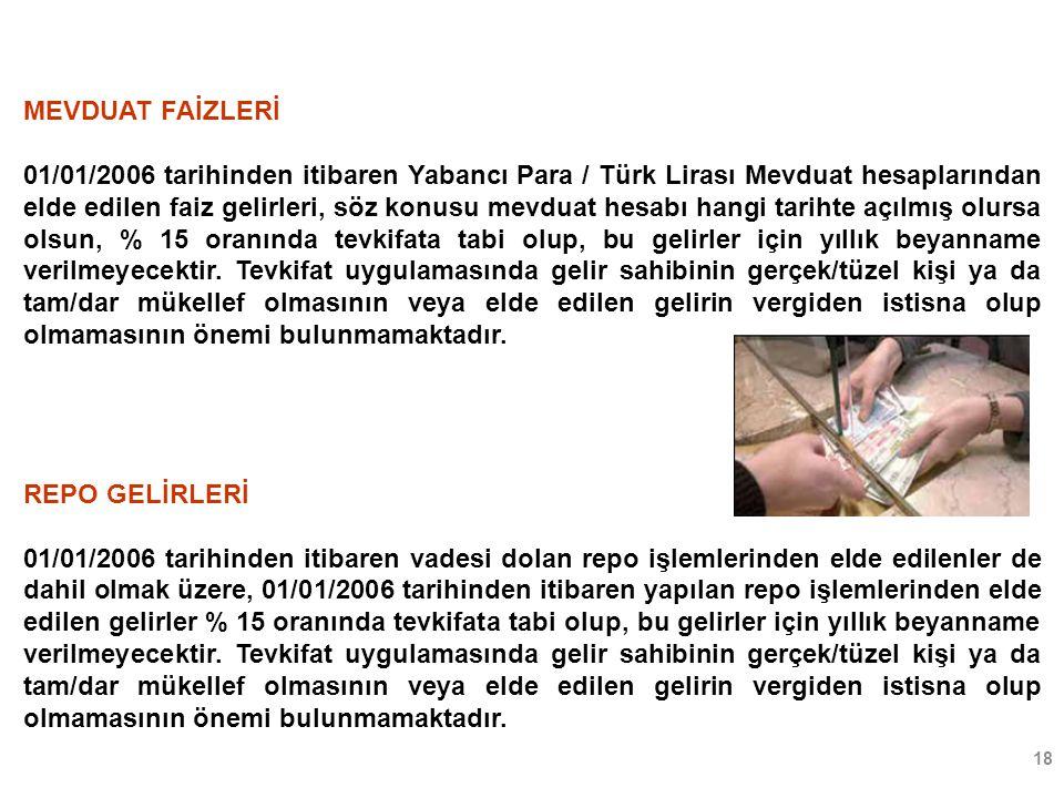 18 MEVDUAT FAİZLERİ 01/01/2006 tarihinden itibaren Yabancı Para / Türk Lirası Mevduat hesaplarından elde edilen faiz gelirleri, söz konusu mevduat hes