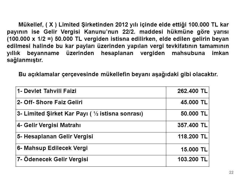 22 Mükellef, ( X ) Limited Şirketinden 2012 yılı içinde elde ettiği 100.000 TL kar payının ise Gelir Vergisi Kanunu'nun 22/2. maddesi hükmüne göre yar