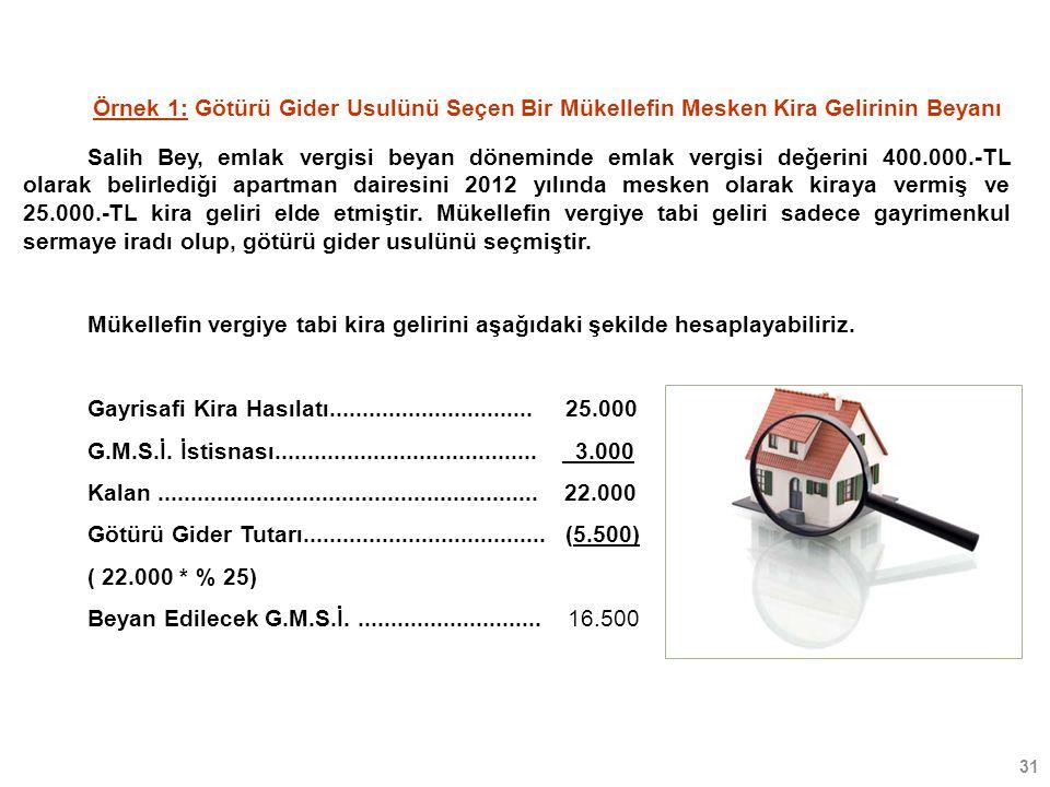 31 Salih Bey, emlak vergisi beyan döneminde emlak vergisi değerini 400.000.-TL olarak belirlediği apartman dairesini 2012 yılında mesken olarak kiraya