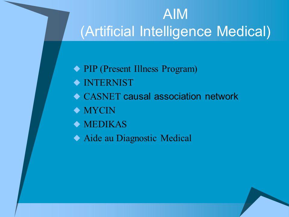 AIM (Artificial Intelligence Medical)  PIP (Present Illness Program)  INTERNIST  CASNET causal association network  MYCIN  MEDIKAS  Aide au Diag
