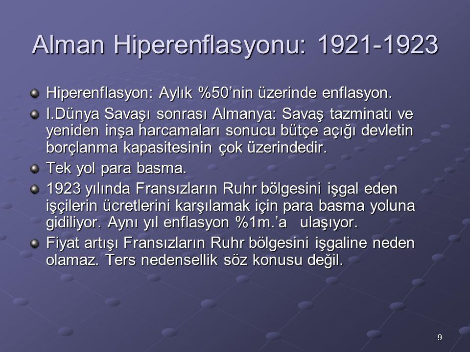 9 Alman Hiperenflasyonu: 1921-1923 Hiperenflasyon: Aylık %50'nin üzerinde enflasyon. I.Dünya Savaşı sonrası Almanya: Savaş tazminatı ve yeniden inşa h
