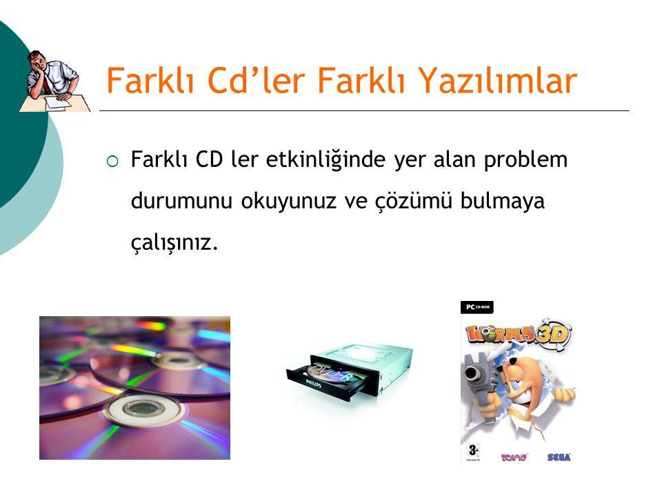 Farklı Cd'ler Farklı Yazılımlar  Farklı CD ler etkinliğinde yer alan problem durumunu okuyunuz ve çözümü bulmaya çalışınız.