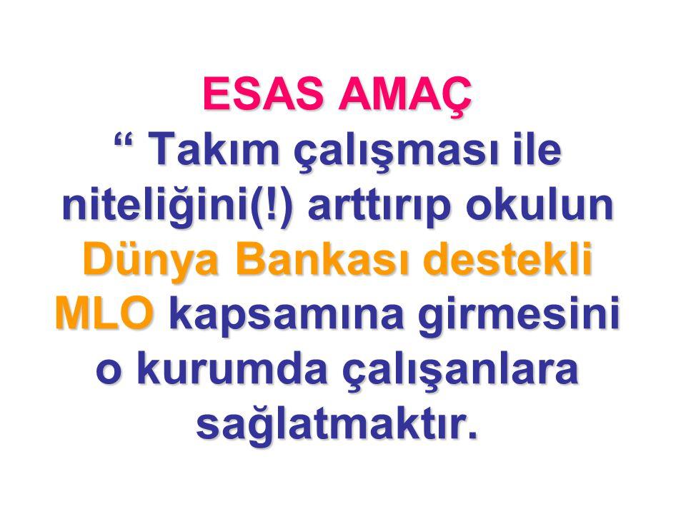 """ESAS AMAÇ """" Takım çalışması ile niteliğini(!) arttırıp okulun Dünya Bankası destekli MLO kapsamına girmesini o kurumda çalışanlara sağlatmaktır."""