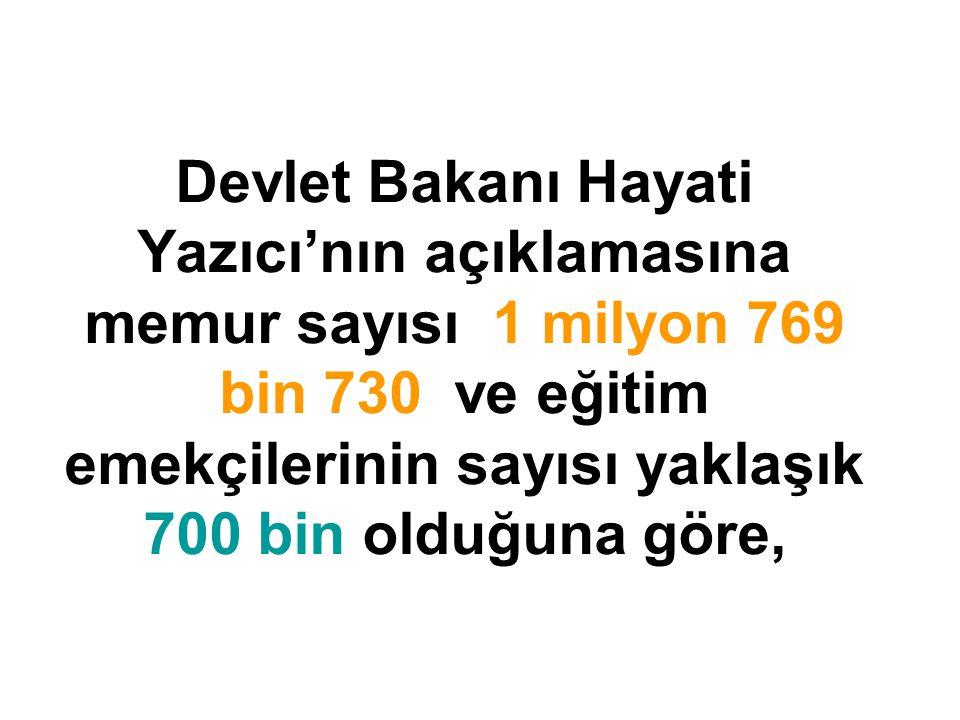 Devlet Bakanı Hayati Yazıcı'nın açıklamasına memur sayısı 1 milyon 769 bin 730 ve eğitim emekçilerinin sayısı yaklaşık 700 bin olduğuna göre,