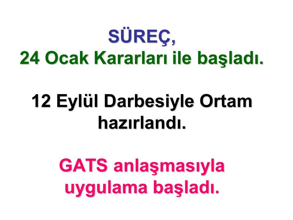 SÜREÇ, 24 Ocak Kararları ile başladı. 12 Eylül Darbesiyle Ortam hazırlandı. GATS anlaşmasıyla uygulama başladı.