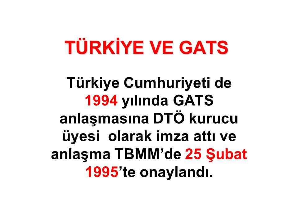 TÜRKİYE VE GATS Türkiye Cumhuriyeti de 1994 yılında GATS anlaşmasına DTÖ kurucu üyesi olarak imza attı ve anlaşma TBMM'de 25 Şubat 1995'te onaylandı.