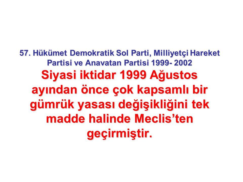 57. Hükümet Demokratik Sol Parti, Milliyetçi Hareket Partisi ve Anavatan Partisi 1999- 2002 Siyasi iktidar 1999 Ağustos ayından önce çok kapsamlı bir