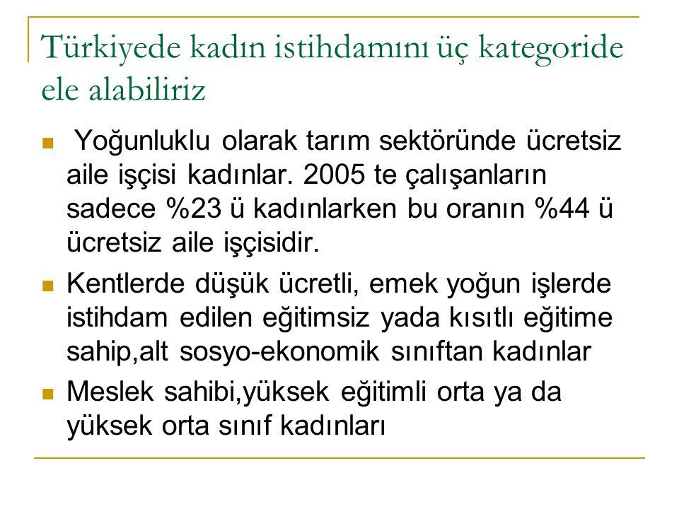 Türkiyede kadın istihdamını üç kategoride ele alabiliriz  Yoğunluklu olarak tarım sektöründe ücretsiz aile işçisi kadınlar.