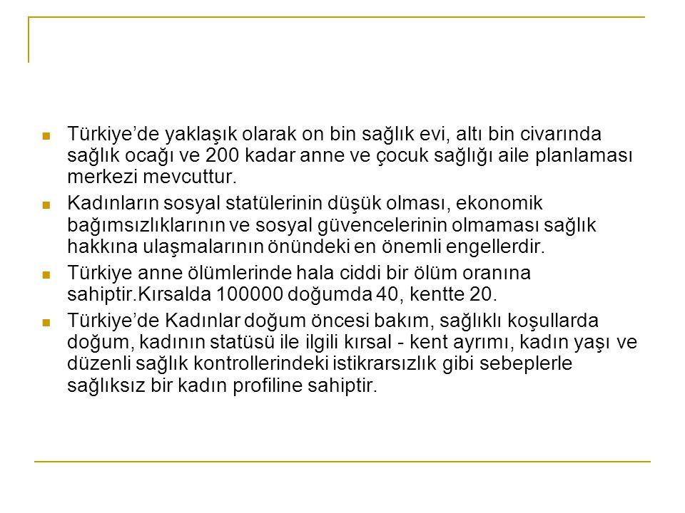  Türkiye'de yaklaşık olarak on bin sağlık evi, altı bin civarında sağlık ocağı ve 200 kadar anne ve çocuk sağlığı aile planlaması merkezi mevcuttur.