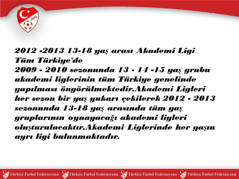 2012 -2013 13-18 ya ş arası Akademi Ligi Tüm Türkiye'de 2009 - 2010 sezonunda 13 - 14 -15 ya ş grubu akademi liglerinin tüm Türkiye genelinde yapılmas