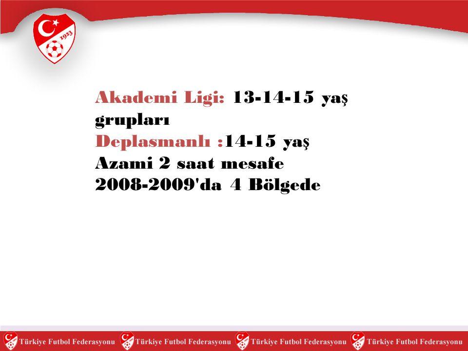 Akademi Ligi: 13-14-15 ya ş grupları Deplasmanlı :14-15 ya ş Azami 2 saat mesafe 2008-2009'da 4 Bölgede