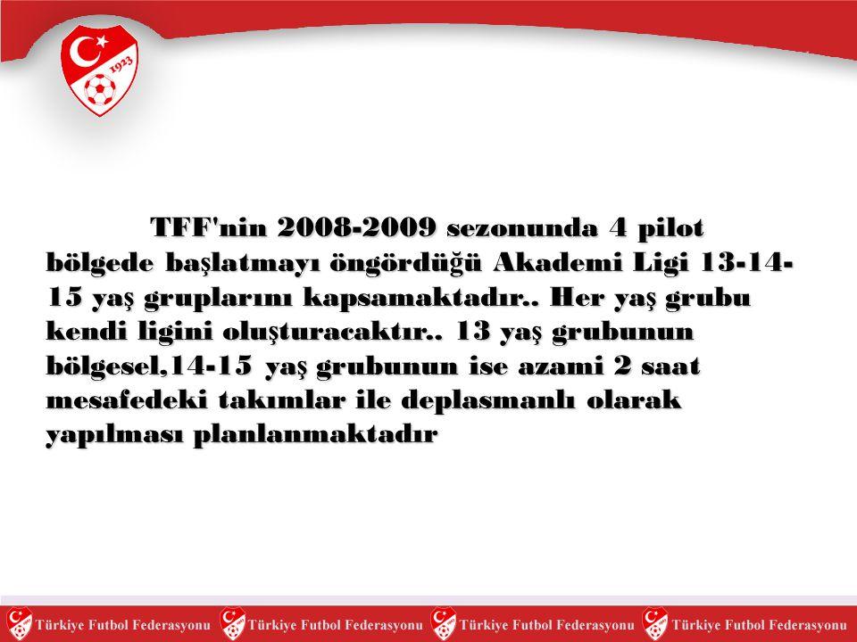 TFF'nin 2008-2009 sezonunda 4 pilot bölgede ba ş latmayı öngördü ğ ü Akademi Ligi 13-14- 15 ya ş gruplarını kapsamaktadır.. Her ya ş grubu kendi ligin