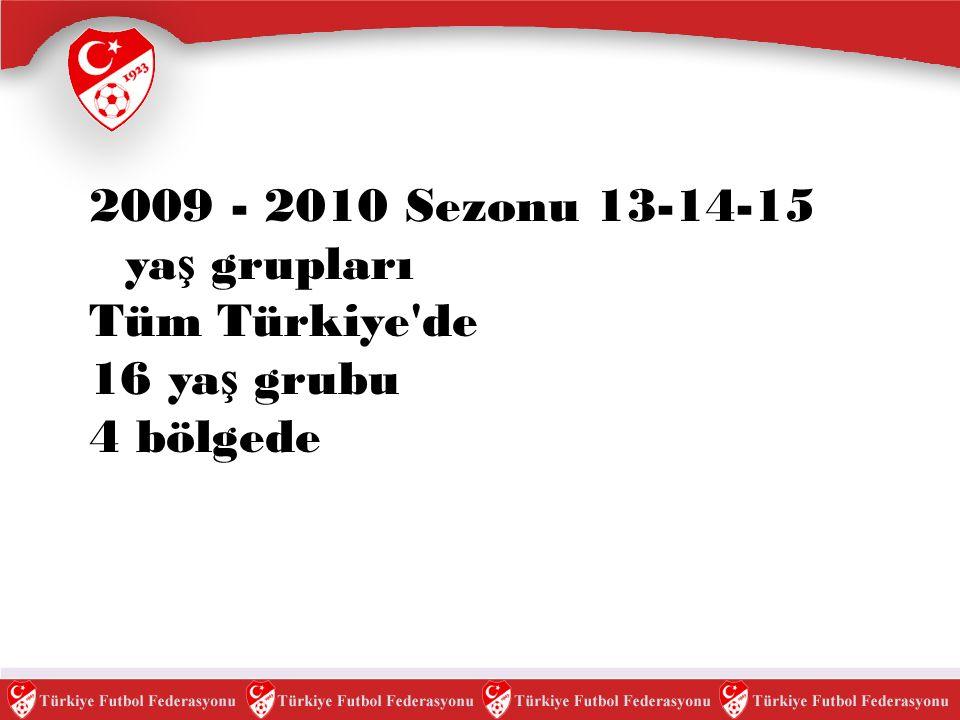 2012 -2013 13-18 ya ş arası Akademi Ligi Tüm Türkiye de 2009 - 2010 sezonunda 13 - 14 -15 ya ş grubu akademi liglerinin tüm Türkiye genelinde yapılması öngörülmektedir.Akademi Ligleri her sezon bir ya ş yukarı çekilerek 2012 - 2013 sezonunda 13-18 ya ş arasında tüm ya ş gruplarının oynayaca ğ ı akademi ligleri olu ş turulacaktır.Akademi Liglerinde her ya ş ın ayrı ligi bulunmaktadır.