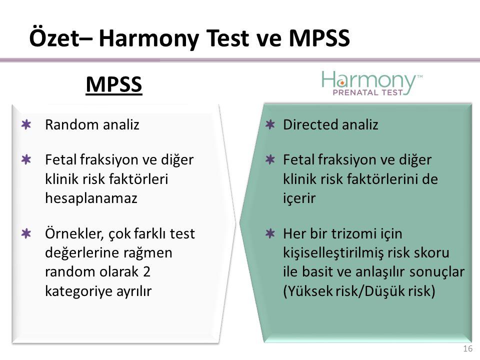 Random analiz Fetal fraksiyon ve diğer klinik risk faktörleri hesaplanamaz Örnekler, çok farklı test değerlerine rağmen random olarak 2 kategoriye ayr