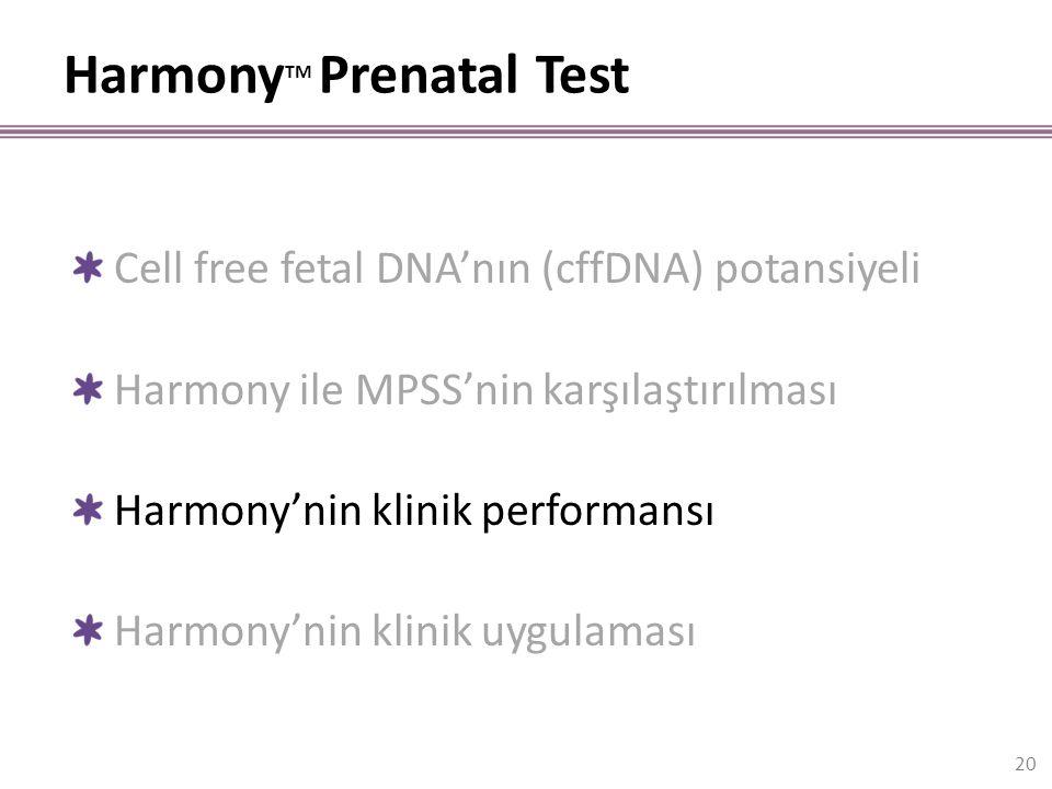 Harmony TM Prenatal Test 20 Cell free fetal DNA'nın (cffDNA) potansiyeli Harmony ile MPSS'nin karşılaştırılması Harmony'nin klinik performansı Harmony