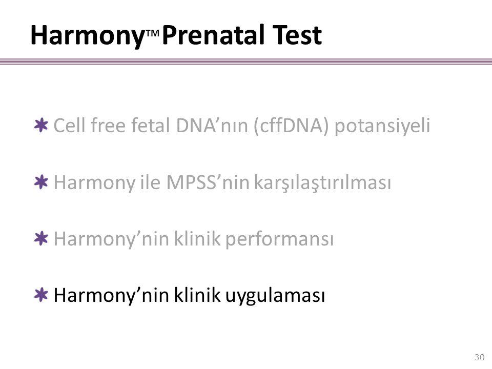 Harmony TM Prenatal Test 30 Cell free fetal DNA'nın (cffDNA) potansiyeli Harmony ile MPSS'nin karşılaştırılması Harmony'nin klinik performansı Harmony