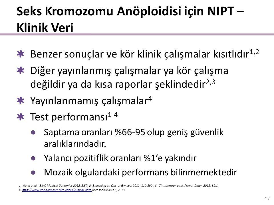Seks Kromozomu Anöploidisi için NIPT – Klinik Veri Benzer sonuçlar ve kör klinik çalışmalar kısıtlıdır 1,2 Diğer yayınlanmış çalışmalar ya kör çalışma