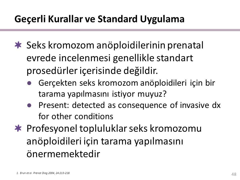 Geçerli Kurallar ve Standard Uygulama Seks kromozom anöploidilerinin prenatal evrede incelenmesi genellikle standart prosedürler içerisinde değildir.