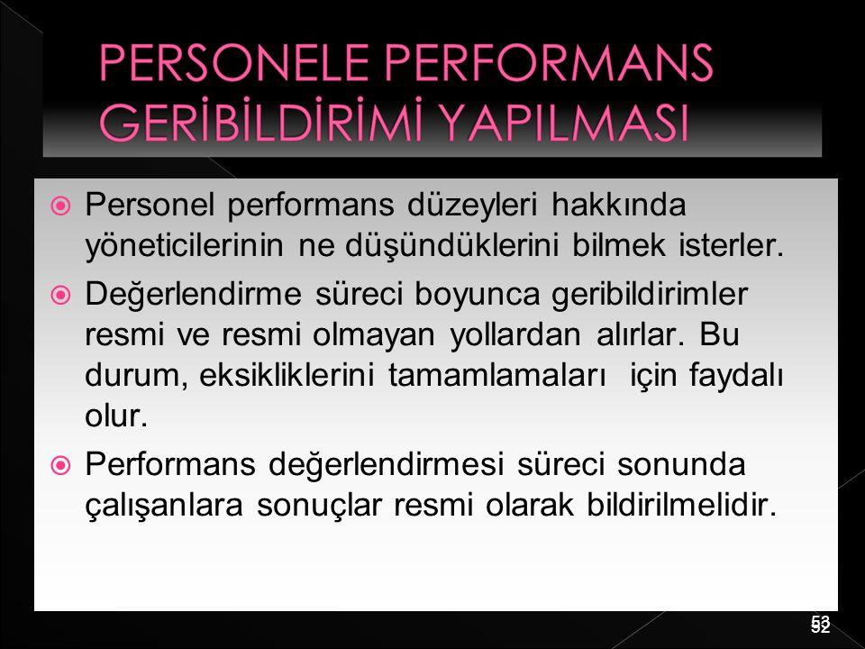 53  Personel performans düzeyleri hakkında yöneticilerinin ne düşündüklerini bilmek isterler.  Değerlendirme süreci boyunca geribildirimler resmi ve