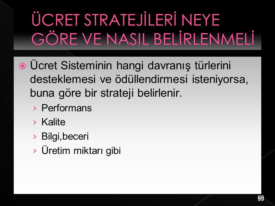 60  Ücret Sisteminin hangi davranış türlerini desteklemesi ve ödüllendirmesi isteniyorsa, buna göre bir strateji belirlenir. › Performans › Kalite ›