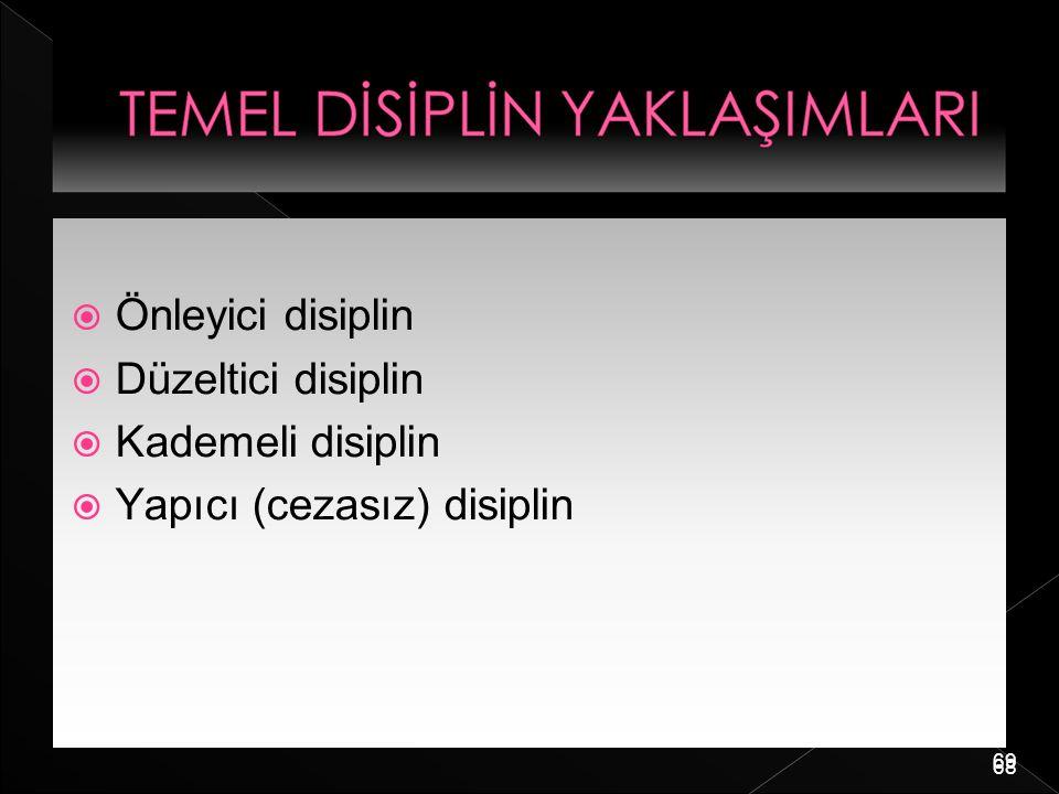 69  Önleyici disiplin  Düzeltici disiplin  Kademeli disiplin  Yapıcı (cezasız) disiplin 68