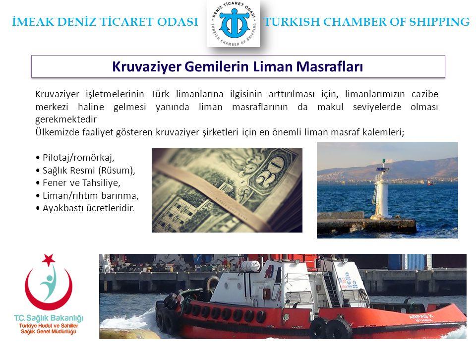 Kruvaziyer Gemilerin Liman Masrafları İMEAK DENİZ TİCARET ODASI TURKISH CHAMBER OF SHIPPING Kruvaziyer işletmelerinin Türk limanlarına ilgisinin arttırılması için, limanlarımızın cazibe merkezi haline gelmesi yanında liman masraflarının da makul seviyelerde olması gerekmektedir Ülkemizde faaliyet gösteren kruvaziyer şirketleri için en önemli liman masraf kalemleri; • Pilotaj/romörkaj, • Sağlık Resmi (Rüsum), • Fener ve Tahsiliye, • Liman/rıhtım barınma, • Ayakbastı ücretleridir.